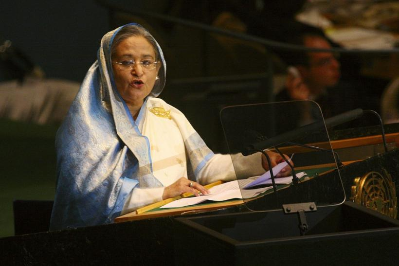 Prime Minister of Bangladesh Hasina speaks during the 64th United Nations General Assembly in New York