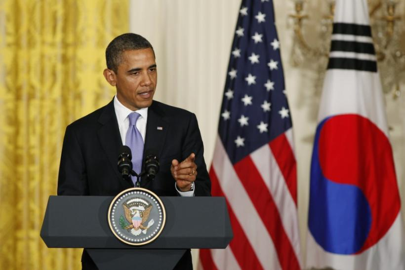 U.S. President Barack Obama and South Korean President Lee Myung-bak hold a joint press conference in the East Room of the White House