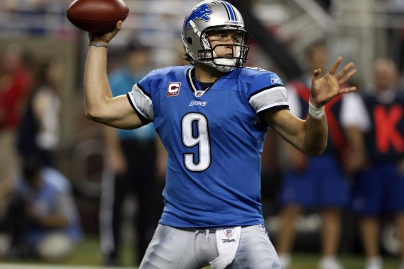 Detroit Lions quarterback Matthew Stafford looks for his receiver during the first half of their NFL Monday Night football game against the Chicago Bears in Detroit,