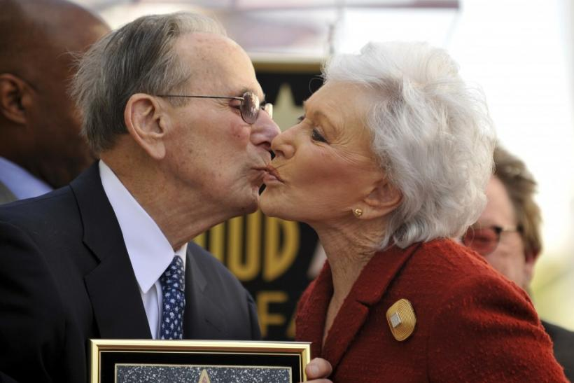 Legendary songwriter Hal David (L) receives a kiss from wife Eunice as the Hollywood Chamber of Commerce honors him with a star on the Hollywood Walk of Fame in Los Angeles, California