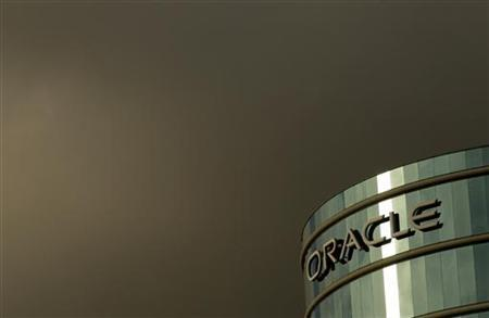 Company Logo Shown at Headquarters for Oracle Corp in Redwood City