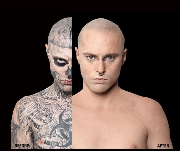 First look at lady gaga s zombie boy sans the tattoos for Dermablend tattoo cover up video
