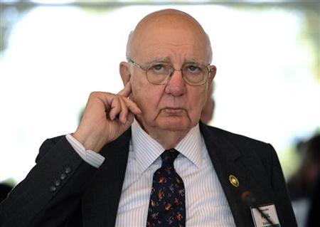 Paul Volcker, former chairman U.S. Federal Reserve takes part in the Spruce Meadows Changing Fortunes Round Table on business in Calgary
