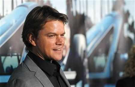 Actor Matt Damon poses at the premiere of the HBO documentary ''His Way'' which portrays the life of legendary movie producer Jerry Weintraub, at the Paramount theatre in Los Angeles
