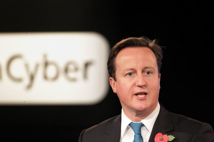 Britain's Prime Minister David Cameron speaks during London Cyberspace Conference in London