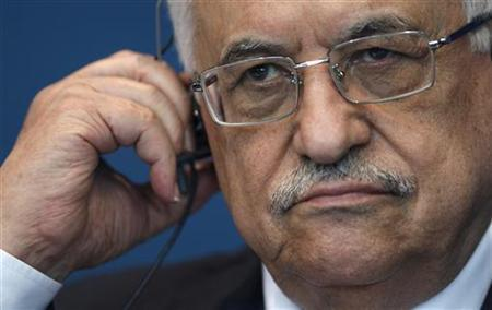 Palestinian President Mahmoud Abbas attends a media briefing after his address to the Parliamentary Assembly of the Council of Europe in Strasbourg