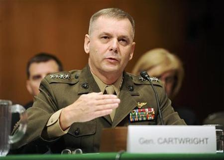 James Cartwright testifies at a hearing of the Senate Armed Services Committee on the situations in Iraq and Afghanistan, on Capitol Hill in Washington September 23, 2008.