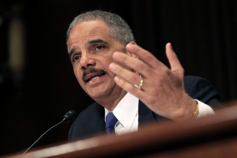 "U.S. Attorney General Eric Holder testifies during a hearing on the ""Oversight of the Justice Department"" held by the Senate Judiciary Committee on Capitol Hill"