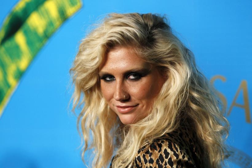 Singer Ke$ha arrives at a party to celebrate the upcoming launch of the Versace for H&M collection in New York