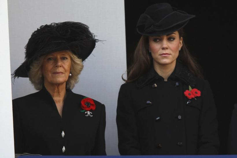 Camilla, Duchess of Cornwall (L) attends the annual Remembrance Sunday ceremony with Catherine, Duchess of Cambridge at the Cenotaph in London November 13, 2011.