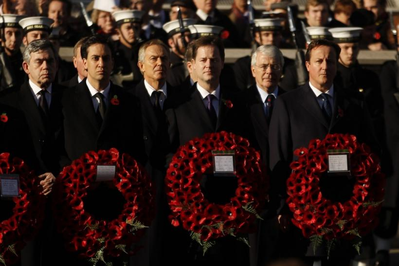 Britain's Prime David Cameron stands with (L-R) former prime minister Gordon Brown, opposition Labour Party leader Ed Miliband, former prime minister Tony Blair, Deputy Prime Minister Nick Clegg, former prime minister John Major during the annual Remembra