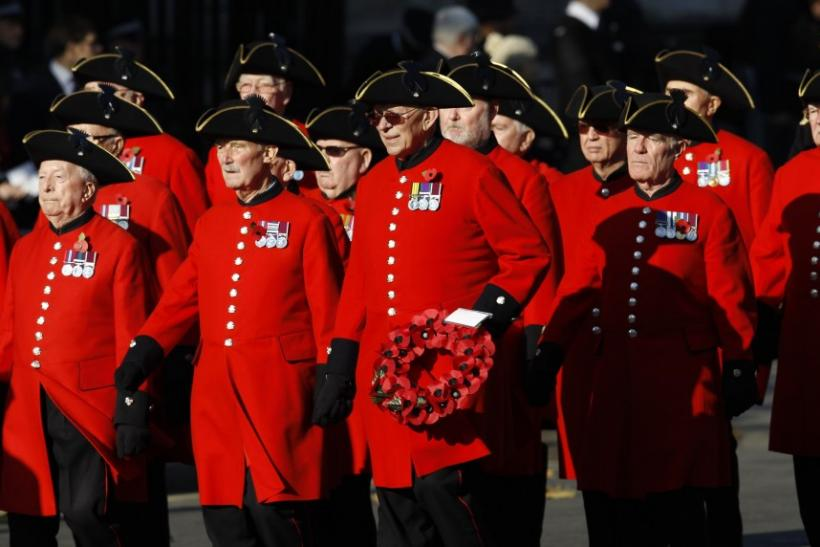 Chelsea Pensioners march past the Cenotaph during the annual Remembrance Sunday ceremony at the Cenotaph in London November 13, 2011.