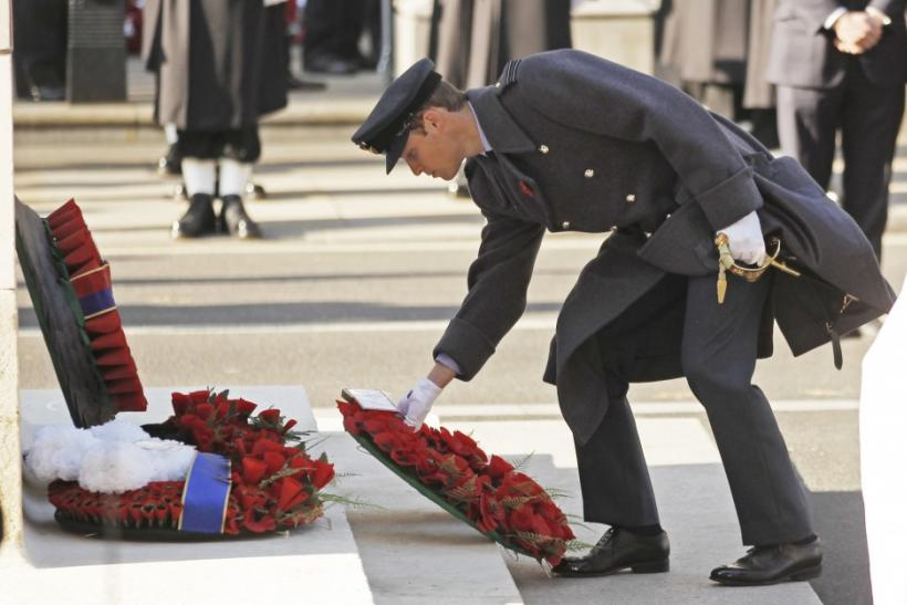 Britain's Prince William lays a wreath during the annual Remembrance Sunday ceremony at the Cenotaph in London November 13, 2011.