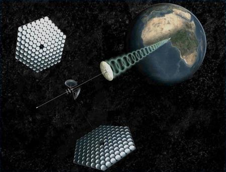 An artist's rendering provided by SpaceWorks Engineering, Inc. shows a modern design for an orbital power plant beaming renewable energy to the developing world in this image released to Reuters on November 12, 2011.