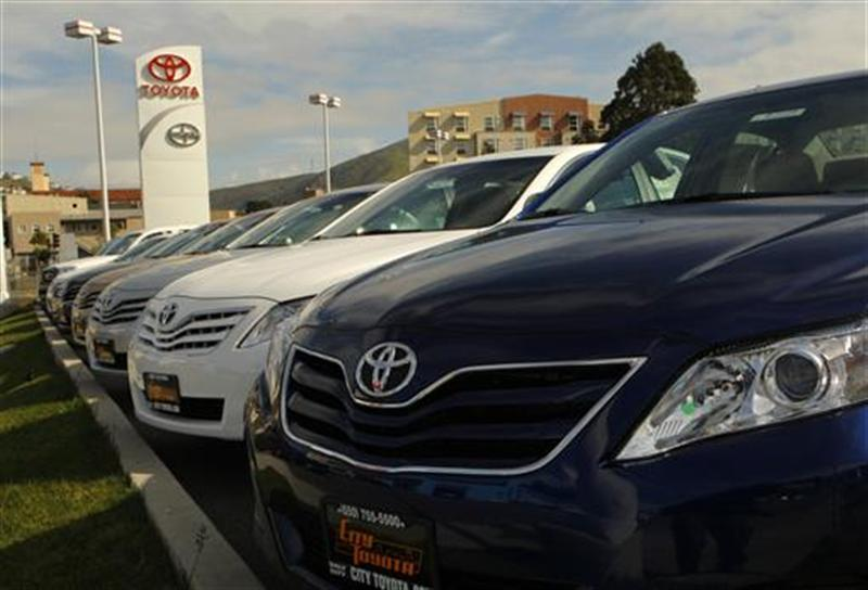 New Toyota automobiles are shown at a dealership in Daly City, California