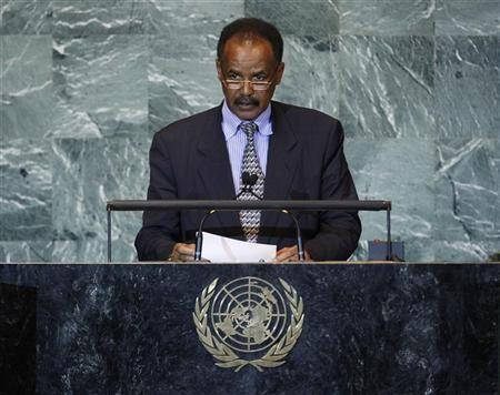 """Eritrea""""s President Isaias Afwerki addresses the 66th United Nations General Assembly at the U.N. headquarters"""