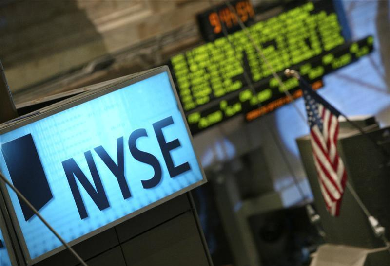 An NYSE is seen over the trading floor of the New York Stock Exchange