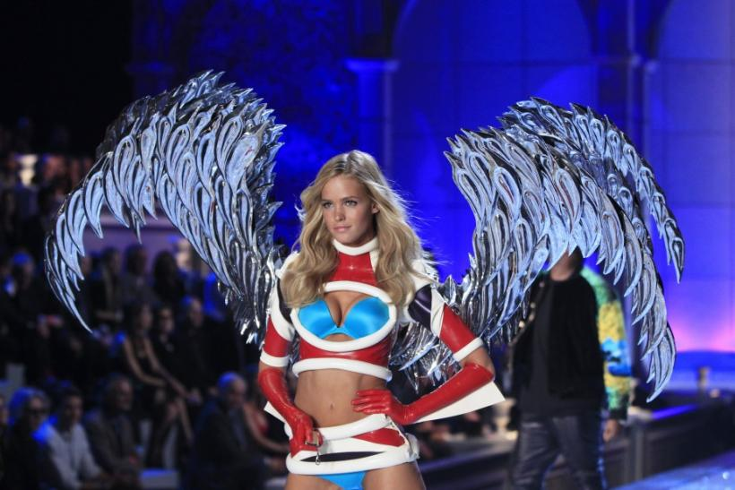 A Victoria's Secret model presents lingerie during the Victoria's Secret Fashion Show at the Lexington Armory in New York