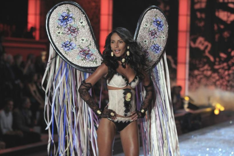 A Victoria's Secret model presents a creation during the Victoria's Secret Fashion Show at the Lexington Armory in New York