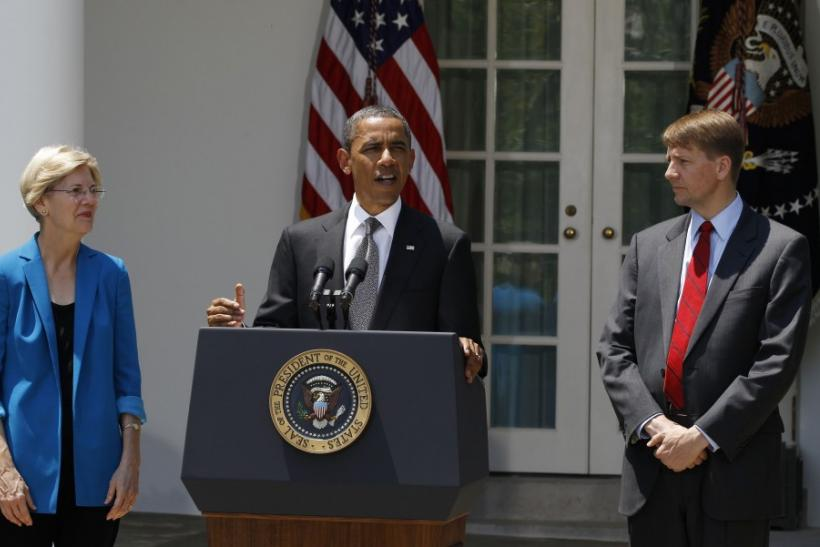 Obama with Richard Cordray and Elizabeth Warren