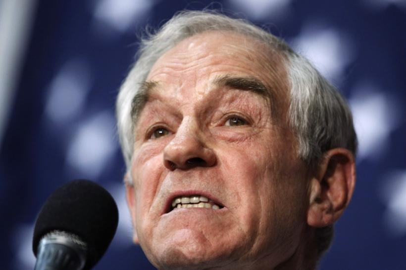 U.S. Republican presidential candidate and Representative Ron Paul speaks during a veterans rally in Des Moines