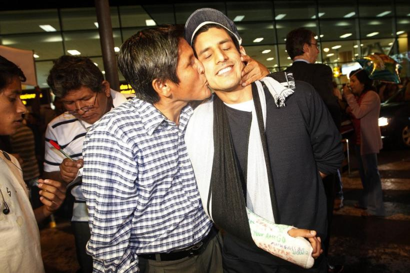 Peruvian Angel Paredes Welcomed by Relatives