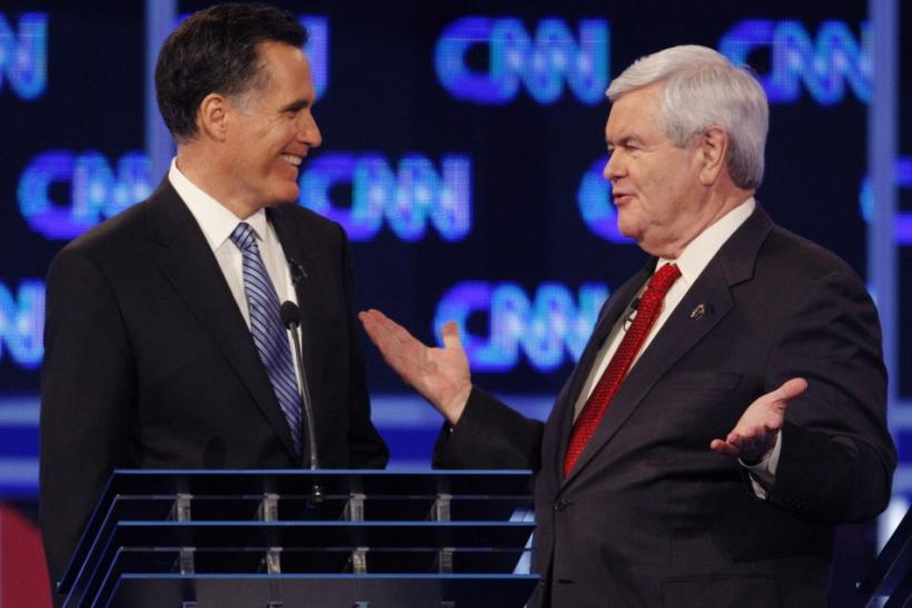 Mitt Romney and Newt Gingrich during the Republican presidential debate