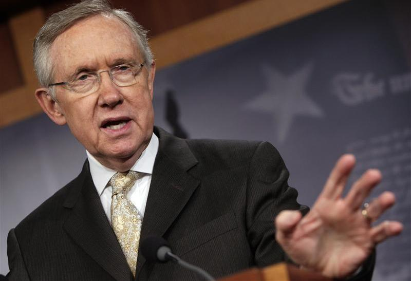 U.S. Senate Majority Leader Reid speaks during his news conference on the payroll tax cut extension in Washington