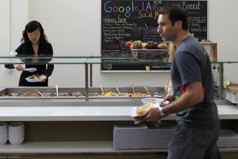 People eat in the cafeteria at the Google campus near Venice Beach, in Los Angeles