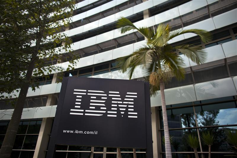 The IBM logo is seen outside the company's offices in Petah Tikva.