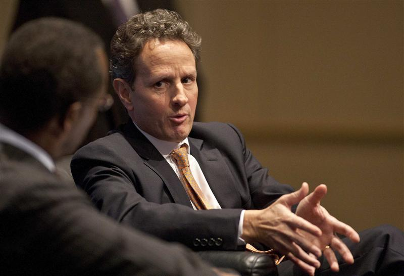 U.S. Treasury Secretary Timothy Geithner speaks at the Charlotte Chamber of Commerce in Charlotte