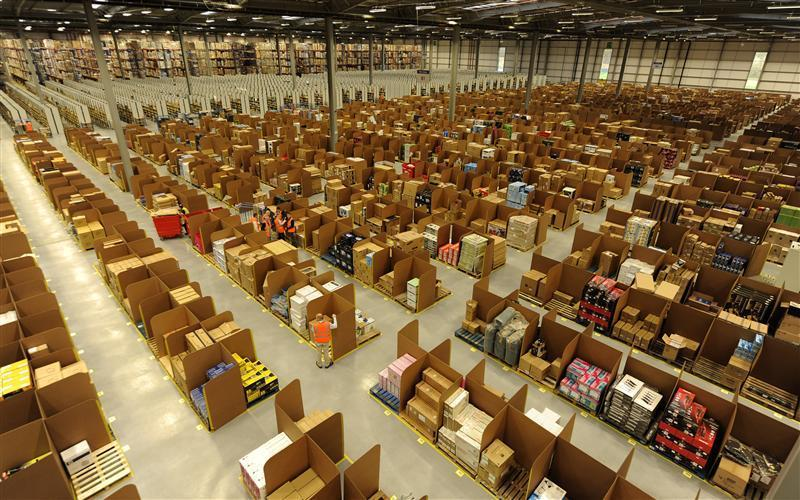 Work is carried out at Amazon's new fulfilment centre after it was opened by Scotland's First Minister Alex Salmond in Dunfermline