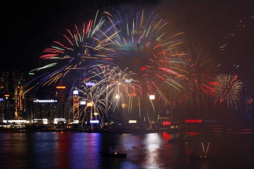 Chinese Lunar New Year Fireworks Over Victoria Harbor, Hong Kong