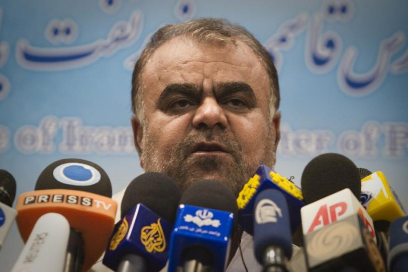 Iranian Oil Minister Rostam Qasemi talks to journalists during a news conference in Tehran on Saturday, Feb. 4, 2012