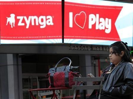 The corporate logo for Zynga is seen on a screen outside the Nasdaq Market Site in New York, December 16, 2011.