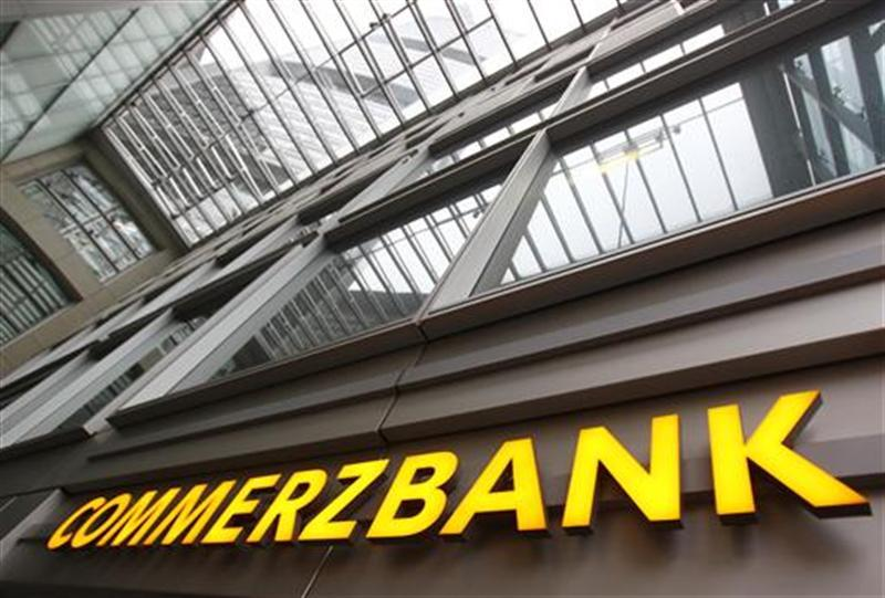 Entrance of the German Commerzbank headquarters is pictured in Frankfurt