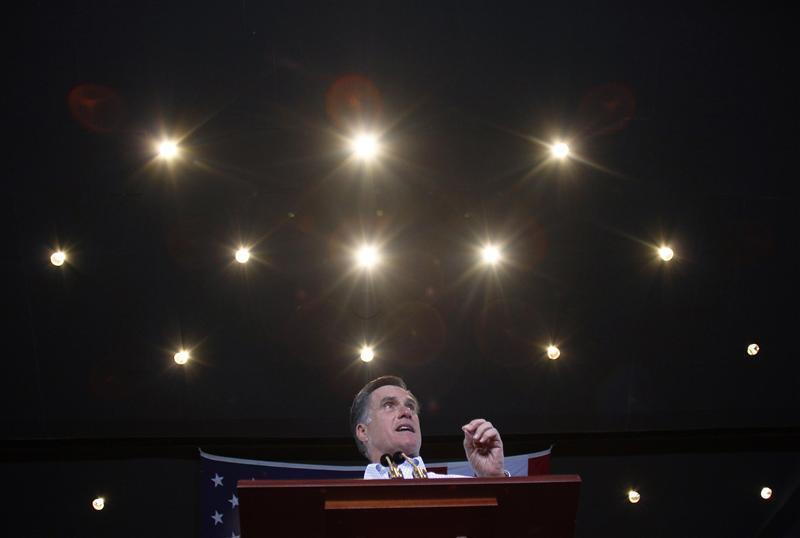 Republican presidential candidate and former Massachusetts Governor Mitt Romney speaks during a campaign event in Mesa