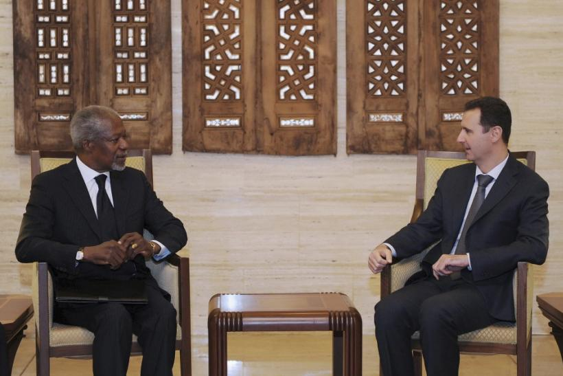Syria's President Bashar al-Assad (R) meets U.N.-Arab League envoy Kofi Annan in Damascus March 10, 2012, in this handout photograph released by Syria's national news agency SANA.