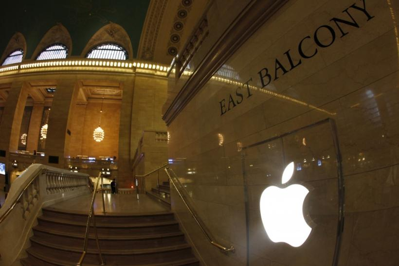 Apple Inc. logo seen on East Balcony on steps leading to newest Apple Store in New York City's Grand Central Station during press preview