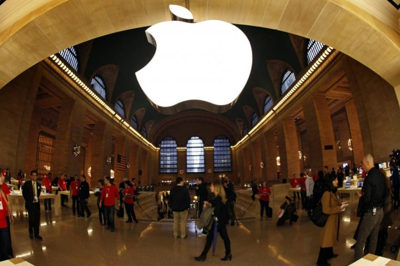 The Apple logo inside the newest Apple Store in New York City's Grand Central Station