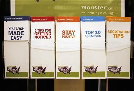 A display of employment tips pamphlets waits for job seekers at a job fair sponsored by employment website Monster.com as part of their ''Keep America Working'' tour at a hotel in New York's Times Square.