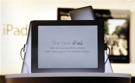 New iPad tablets are seen in a window display in an Apple store in Sydney March 16, 2012.