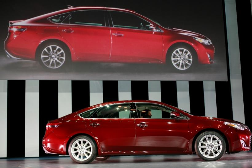 The 2013 Toyota Avalon is seen from the side at the 2012 New York International Auto Show