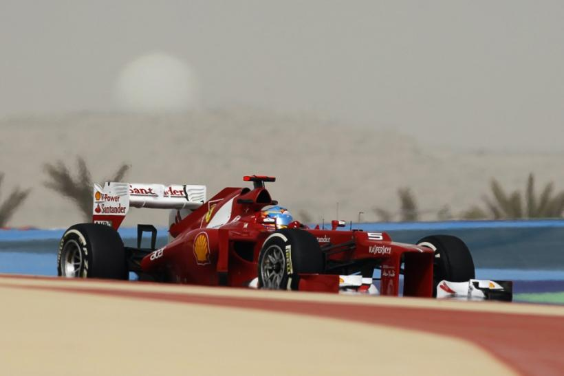 Ferrari Formula One driver Alonso drives during the second practice session of the Bahrain F1 Grand Prix at the Sakhir circuit in Manama