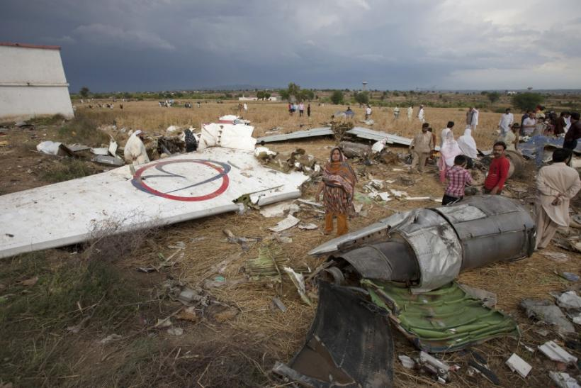 Remnants of Boeing 737 aircraft that crashed in Islamabad on Friday killing all 127 passengers