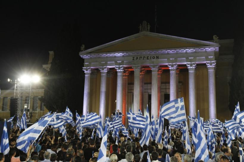 Leader of the New Democracy conservatives party Samaras addresses the audience during a pre-election rally in Athens