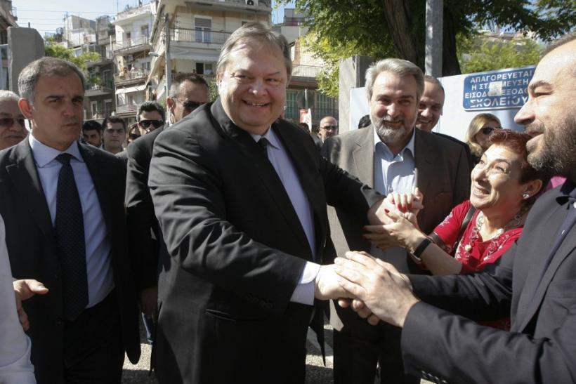 Leader of the Socialist PASOK party Venizelos arrives to vote at a polling station in Thessaloniki