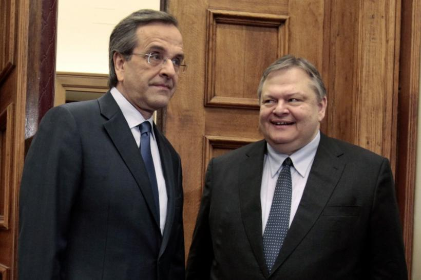 Leader of the Socialists PASOK party Venizelos meets leader of Conservatives New Democracy party Samaras in Athens