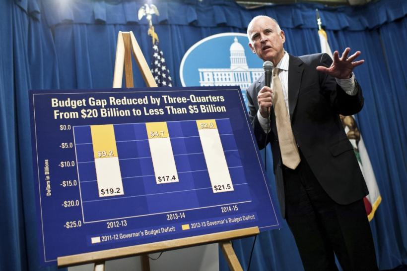 California Governor Jerry Brown introduces his state budget proposal at the