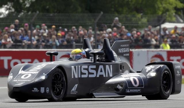 Krumm of Germany drives his Nissan DeltaWing Number 0 during the Le Mans 24-hour sportscar race in Le Mans.